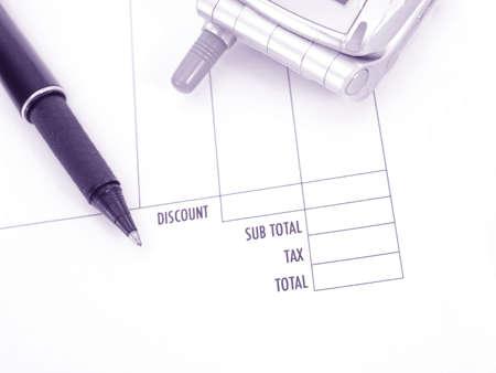 invoice, pen and phone    Stock fotó