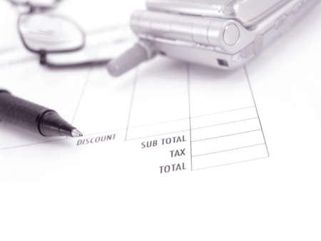 invoice, glasses, pen and phone                    Stock fotó