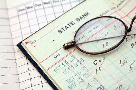 bank records: vintage bank saving account ledger from the 1920s Stock Photo