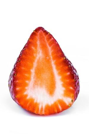 macro  close up shot of half sliced strawberry Stock Photo