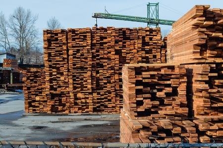 Mill producing lumber for construction and packs it for convenient shipment. Imagens - 78264588