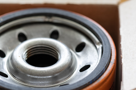 close up shot of new automotive oil filter