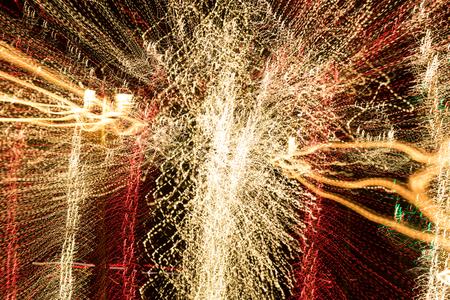 Long exposure lights spin blur.