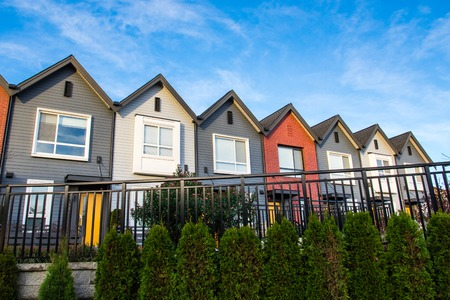 Colorful new modern luxury townhouses.