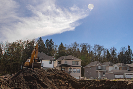 Building site with new homes under construction.
