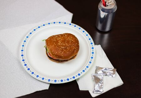 Burger on a paper plate top view. Minimalism.