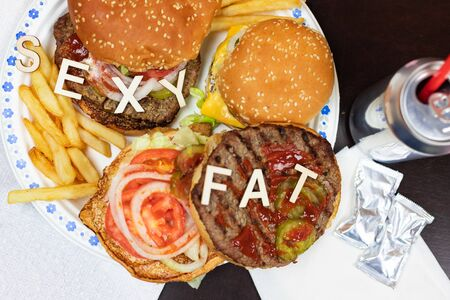 Say No To Junk Food. Juicy burger and fries with words SEXY FAT on it. Anti fast food, time for diet concept.