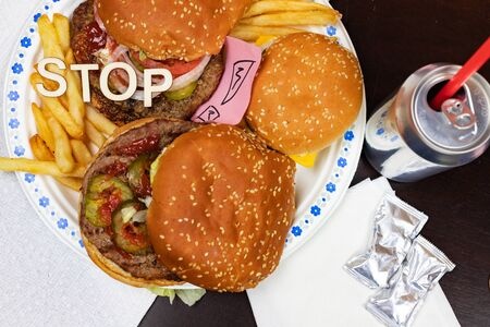 Say No To Junk Food. Juicy burger and fries with anti fast food slogan on it. Anti fast food, time for diet concept.