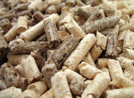 wood pellets: wood pellets for fireplaces and stoves, close up