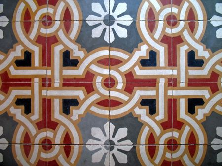 tiles of an ancient floor, rounds and stripes photo