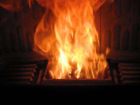wood pellets: fireplace is burning wood pellets