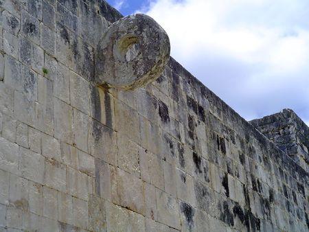 ruins of pelota game in maya city chichen itza, Mexico