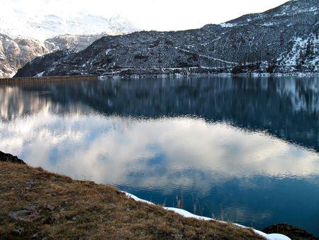 basin mountain: An hydroelectric basin in high mountain Stock Photo