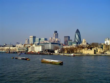 thames: A view of London City from the Thames bank Stock Photo