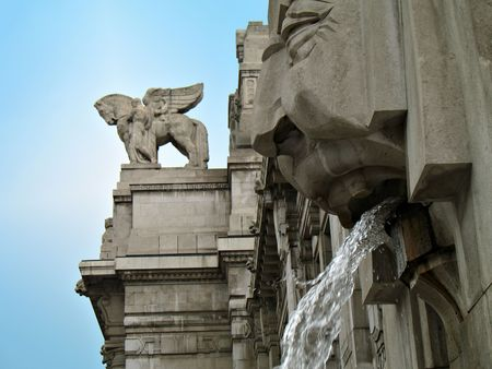 Milan Central Station: fountain and statues Stock Photo