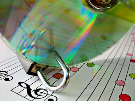 pirated: Concept image about music piracy and copyright protection Stock Photo