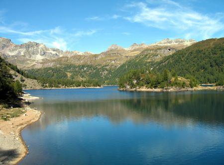electricity providers: Alpine lake  Stock Photo