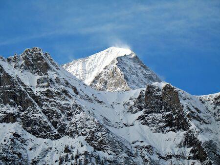 gusty: Monte Leone, Valle Ossola, Italy, 3552 mt. winter windy landscape Stock Photo