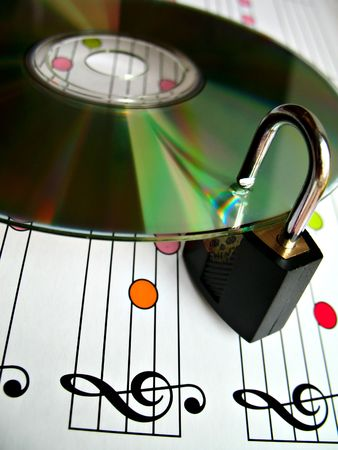 piracy: Concept image about music piracy and copyright protection Stock Photo