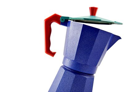 Blue coffeepot with red handle, isolated on white background Stock Photo
