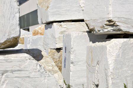 blocks of white marble in Carrara, Tuscany, Italy Stock Photo