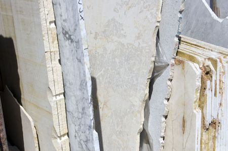 quarry: A stack of white marble slabs, Tuscany, Italy Stock Photo