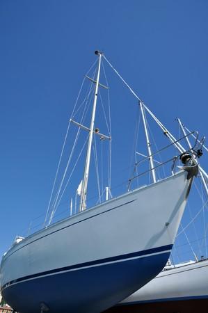 ship bow: sailboats in a dockyard