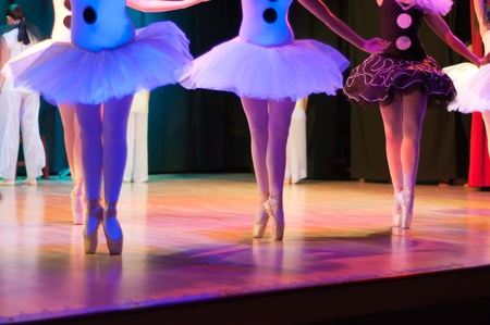 Display of a Classic Ballet, dancers legs and shoes details photo
