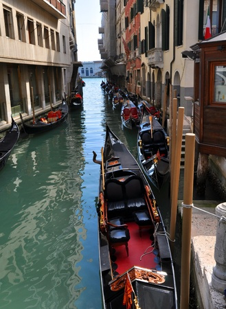 A typical water channel named Rio wih gondole - Venezia - Italy Editorial