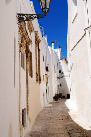 Ostuni lane in the Old Town (the White City), Puglia, Italy