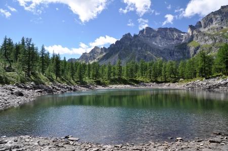 A view of Lago Nero, small alpine lake, Devero Park, Italy