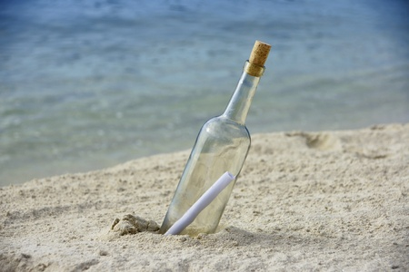 message: Message in a bottle on an isolated beach