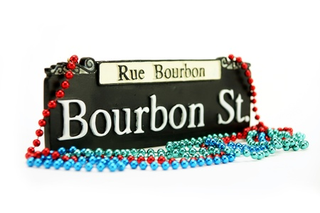 street party: Bourbon Street Sign Stock Photo