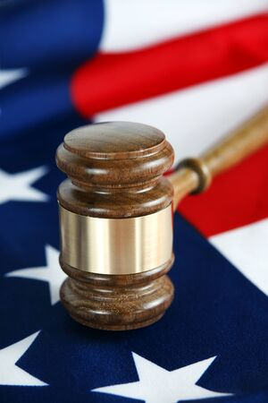 Gavel with flag background Stock Photo - 13149899