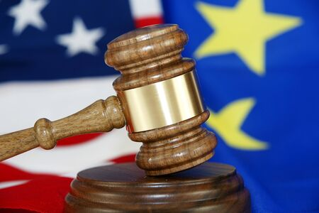 Gavel with flag background photo