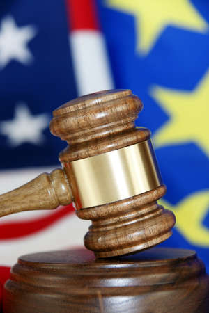 Gavel with flag background Stock Photo - 13150578