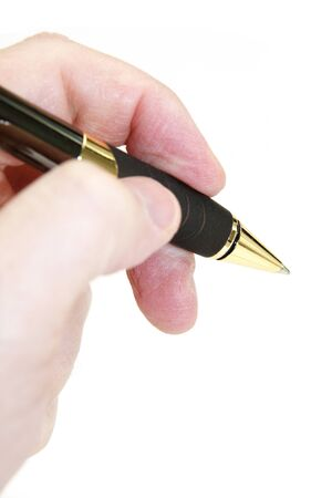 Hand holding a pen Stock fotó