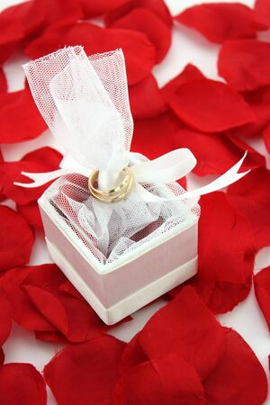 Wedding Rings sitting in a box with roses photo
