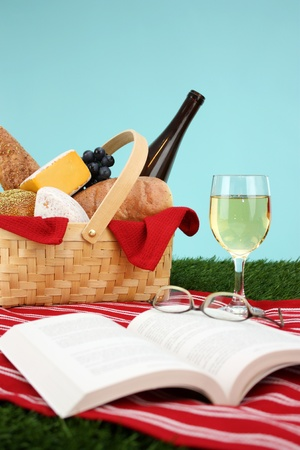 Picnic Basket filled with food that is ready to eat photo