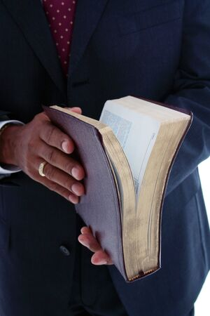 religious clothing: Minority pastor set on a white background Stock Photo