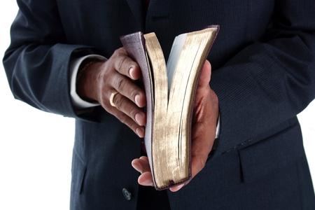 predicatore: Pastore minoranza impostata su uno sfondo bianco Archivio Fotografico