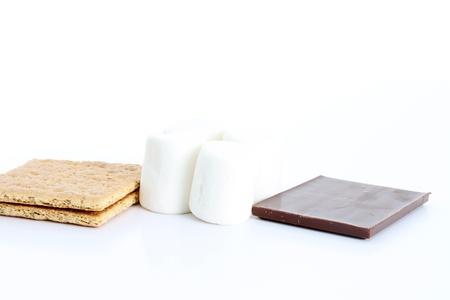 graham: Graham cracker chocolate smores on white background