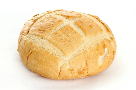 french bread boule: Bread boule sitting on a white background Stock Photo