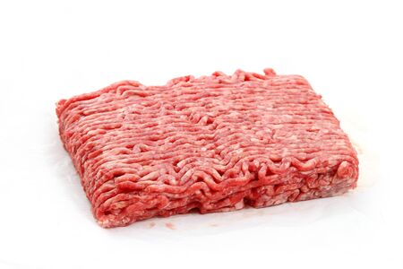 ground beef: Raw pile of ground beef on white background