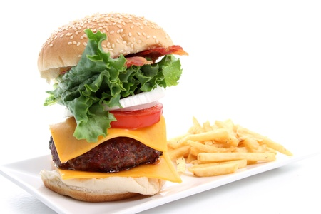 Platter with hamburger and fries on white background photo