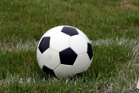 futbol soccer: A soccer ball sits on a field