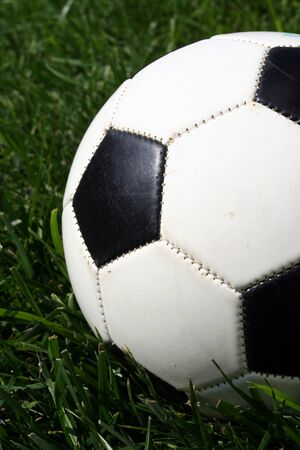 futbol soccer: A soccerball sits on a field