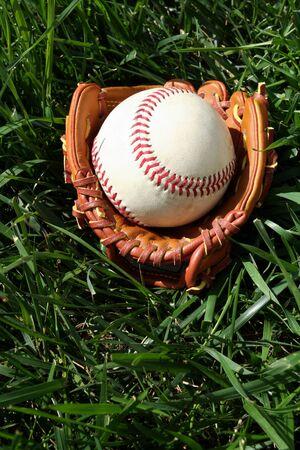 A baseball glove with a baseball Stock Photo - 13144180