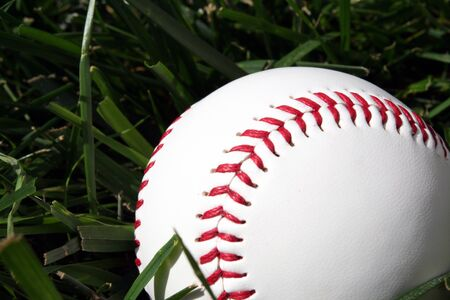 Baseball sitting on a field Stock Photo - 13139714