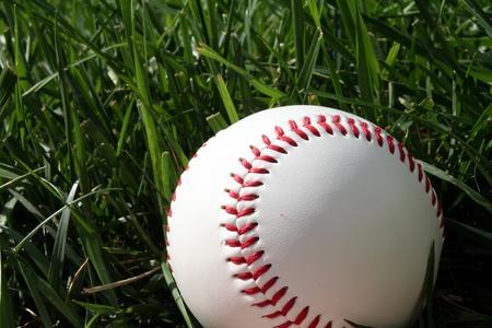 Baseball sitting on a field photo